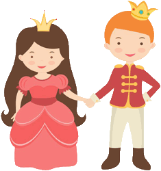 Drawing of a little princess holding hands with a little prince.
