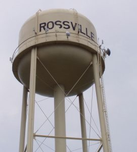 A water tower with the town name of Rossville