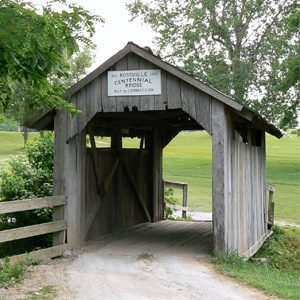 Covered bridge at Angel Hill Golf Course