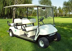 A white golf cart
