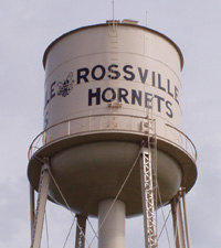 "Water tower reading ""Rossville Hornets"""