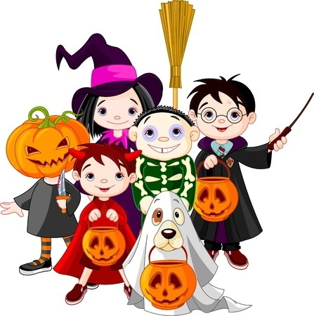A group of kids dressed up in Halloween costumes ready to go trick-or-treating!